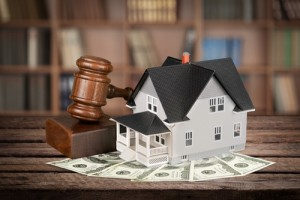 Picture of gavel, money and house